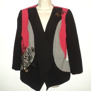 NEW Chico's 1 M Pieced Artisan Jacket Black, Red